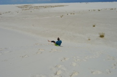 Sledding down the dunes